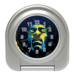 Gabz Jimi Hendrix Voodoo Child Poster Release From Dark Hall Mansion Travel Alarm Clocks by Samandel