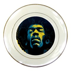 Gabz Jimi Hendrix Voodoo Child Poster Release From Dark Hall Mansion Porcelain Plates by Samandel