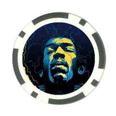 Gabz Jimi Hendrix Voodoo Child Poster Release From Dark Hall Mansion Poker Chip Card Guard by Samandel