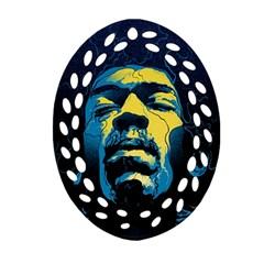 Gabz Jimi Hendrix Voodoo Child Poster Release From Dark Hall Mansion Ornament (oval Filigree)