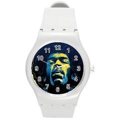 Gabz Jimi Hendrix Voodoo Child Poster Release From Dark Hall Mansion Round Plastic Sport Watch (m) by Samandel