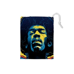 Gabz Jimi Hendrix Voodoo Child Poster Release From Dark Hall Mansion Drawstring Pouches (small)  by Samandel