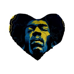Gabz Jimi Hendrix Voodoo Child Poster Release From Dark Hall Mansion Standard 16  Premium Flano Heart Shape Cushions by Samandel