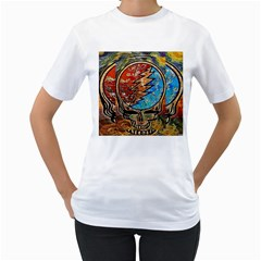 Grateful Dead Rock Band Women s T Shirt (white) (two Sided)