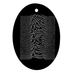 Grayscale Joy Division Graph Unknown Pleasures Ornament (oval)