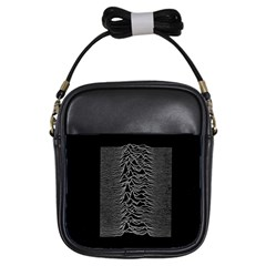 Grayscale Joy Division Graph Unknown Pleasures Girls Sling Bags by Samandel