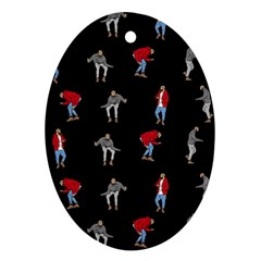 Hotline Bling Black Background Oval Ornament (two Sides)