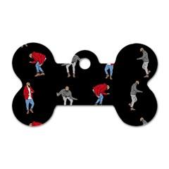 Hotline Bling Black Background Dog Tag Bone (two Sides)