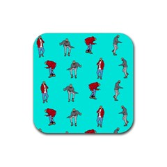 Hotline Bling Blue Background Rubber Coaster (square)