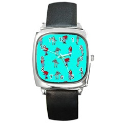 Hotline Bling Blue Background Square Metal Watch