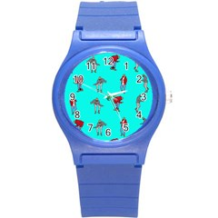 Hotline Bling Blue Background Round Plastic Sport Watch (s)