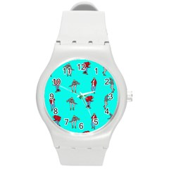 Hotline Bling Blue Background Round Plastic Sport Watch (m)