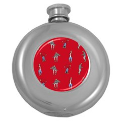 Hotline Bling Red Background Round Hip Flask (5 Oz)