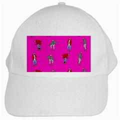 Hotline Bling Pink Background White Cap