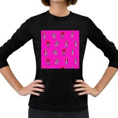Hotline Bling Pink Background Women s Long Sleeve Dark T Shirts