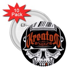 Kreator Thrash Metal Heavy Hard Rock Skull Skulls 2 25  Buttons (10 Pack)