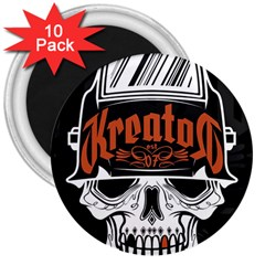 Kreator Thrash Metal Heavy Hard Rock Skull Skulls 3  Magnets (10 Pack)