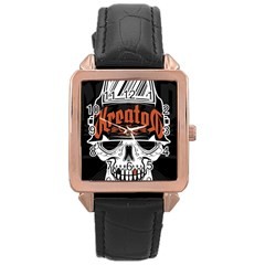 Kreator Thrash Metal Heavy Hard Rock Skull Skulls Rose Gold Leather Watch  by Samandel