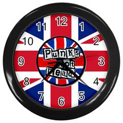 Punk Not Dead Music Rock Uk United Kingdom Flag Wall Clocks (black)