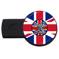 Punk Not Dead Music Rock Uk United Kingdom Flag Usb Flash Drive Round (2 Gb) by Samandel
