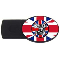 Punk Not Dead Music Rock Uk United Kingdom Flag Usb Flash Drive Oval (2 Gb)