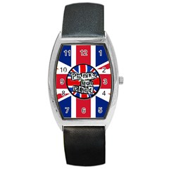 Punk Not Dead Music Rock Uk United Kingdom Flag Barrel Style Metal Watch