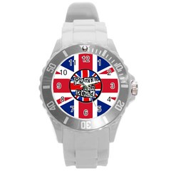 Punk Not Dead Music Rock Uk United Kingdom Flag Round Plastic Sport Watch (l)