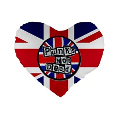 Punk Not Dead Music Rock Uk United Kingdom Flag Standard 16  Premium Flano Heart Shape Cushions