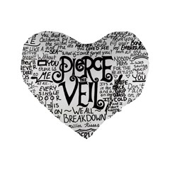 Pierce The Veil Music Band Group Fabric Art Cloth Poster Standard 16  Premium Flano Heart Shape Cushions
