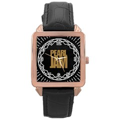 Pearl Jam Logo Rose Gold Leather Watch
