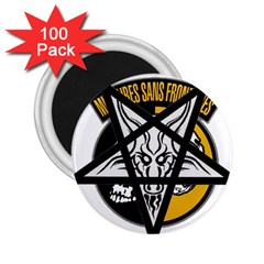 Satanic Warmaster Black Metal Heavy Dark Occult Pentagran Satan 2 25  Magnets (100 Pack)