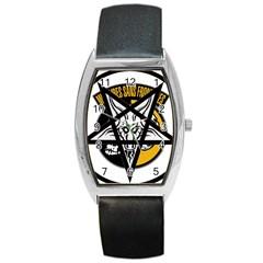 Satanic Warmaster Black Metal Heavy Dark Occult Pentagran Satan Barrel Style Metal Watch
