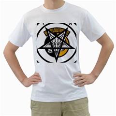 Satanic Warmaster Black Metal Heavy Dark Occult Pentagran Satan Men s T Shirt (white)