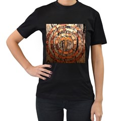 Queensryche Heavy Metal Hard Rock Bands Logo On Wood Women s T Shirt (black) (two Sided)