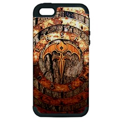 Queensryche Heavy Metal Hard Rock Bands Logo On Wood Apple Iphone 5 Hardshell Case (pc+silicone)