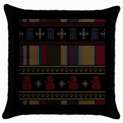 Tardis Doctor Who Ugly Holiday Throw Pillow Case (black) by Samandel