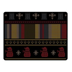 Tardis Doctor Who Ugly Holiday Fleece Blanket (small)