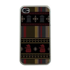 Tardis Doctor Who Ugly Holiday Apple Iphone 4 Case (clear) by Samandel
