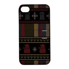 Tardis Doctor Who Ugly Holiday Apple Iphone 4/4s Hardshell Case With Stand by Samandel