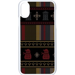 Tardis Doctor Who Ugly Holiday Apple Iphone X Seamless Case (white) by Samandel
