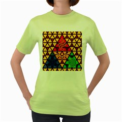 The Triforce Stained Glass Women s Green T Shirt