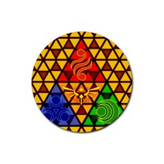 The Triforce Stained Glass Rubber Round Coaster (4 Pack)