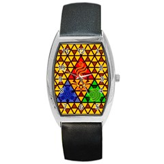The Triforce Stained Glass Barrel Style Metal Watch