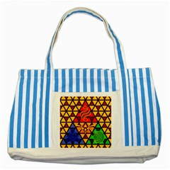 The Triforce Stained Glass Striped Blue Tote Bag