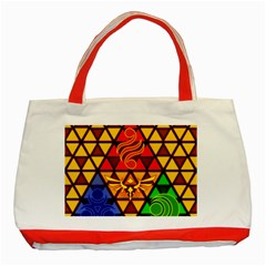 The Triforce Stained Glass Classic Tote Bag (red)