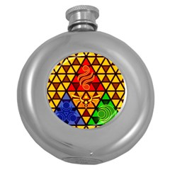 The Triforce Stained Glass Round Hip Flask (5 Oz)