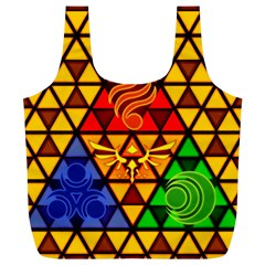 The Triforce Stained Glass Full Print Recycle Bags (l)