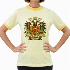 Imperial Coat Of Arms Of Austria Hungary  Women s Fitted Ringer T Shirts