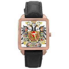 Imperial Coat Of Arms Of Austria Hungary  Rose Gold Leather Watch