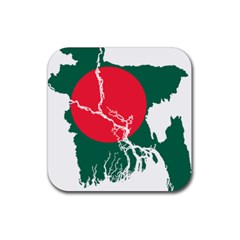 Flag Map Of Bangladesh Rubber Coaster (square)  by abbeyz71